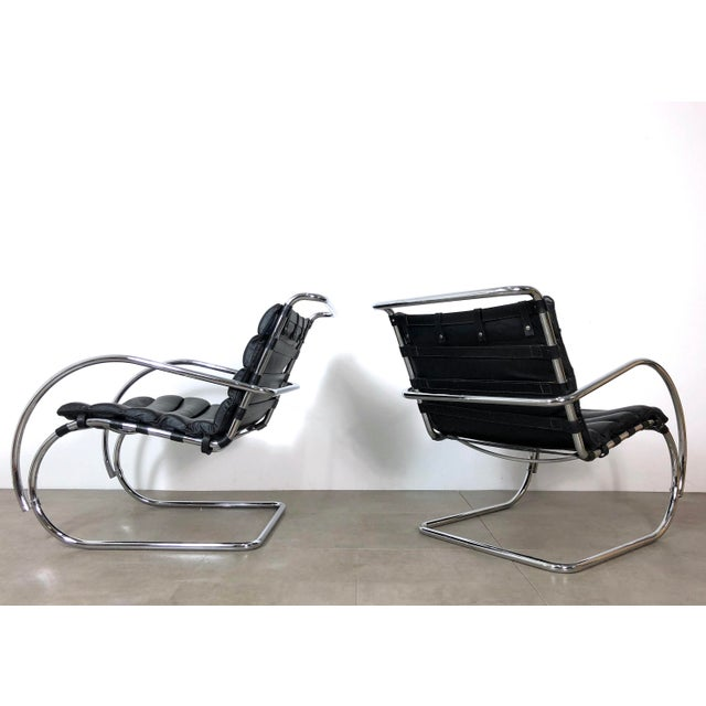 Silver Vintage 1970s Mies Van Der Rohe Style Lounge Chairs - a Pair For Sale - Image 8 of 10