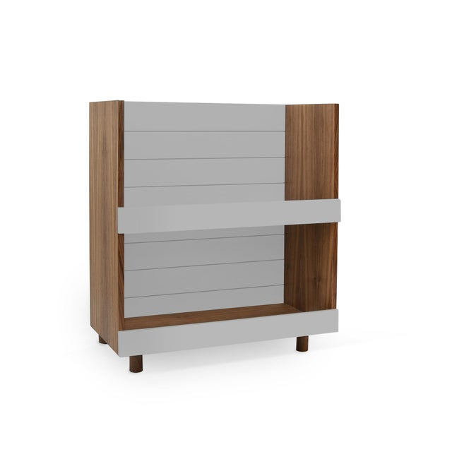"Nico & Yeye Minimo Modern Kids 31"" Bookcase in Walnut With Gray Finish For Sale - Image 4 of 4"