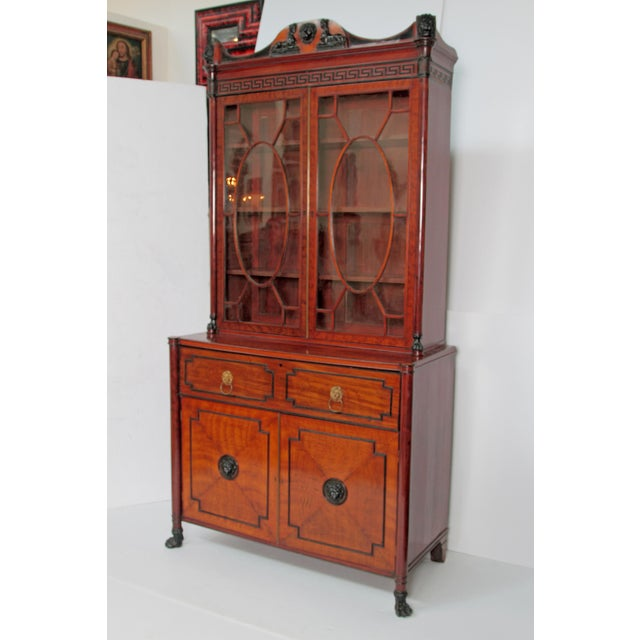 Period English Regency Secretary Cabinet With Ebonized Trim For Sale - Image 4 of 13