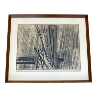 1960s Mid Century Modern Framed Hans Hartung Limited Edition Etching Hand Signed For Sale