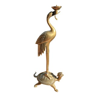 Vintage Brass Crane & Turtle Candle Holder For Sale