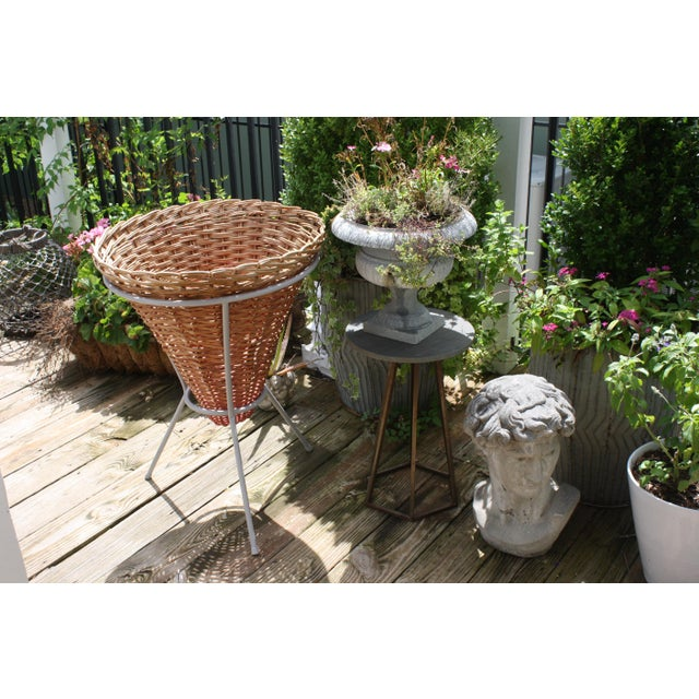 Mid-Century Wicker Basket Planter on Metal Tripod Stand / Wicker and Metal Dining Table Base For Sale - Image 4 of 13
