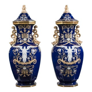"Ashworth Ironstone Blue Marzine ""Nike"" Motif Alcove Vases - a Pair"