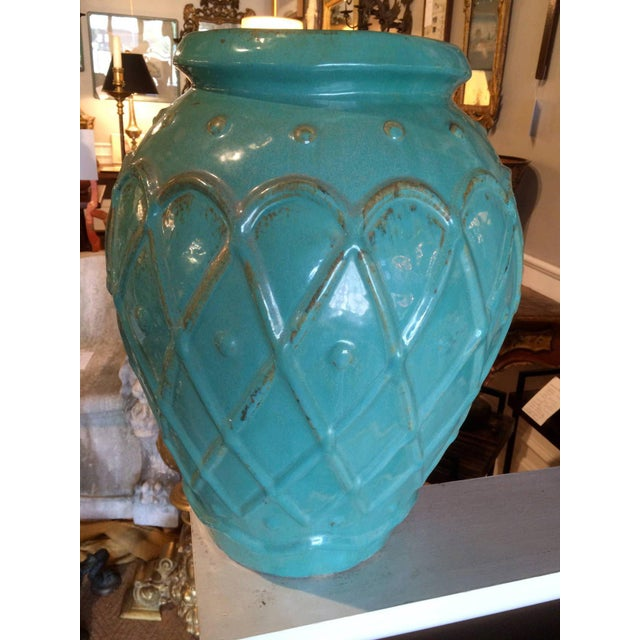 Galloway Terra Cotta Turquoise Glaze Jar by Galloway For Sale - Image 4 of 9