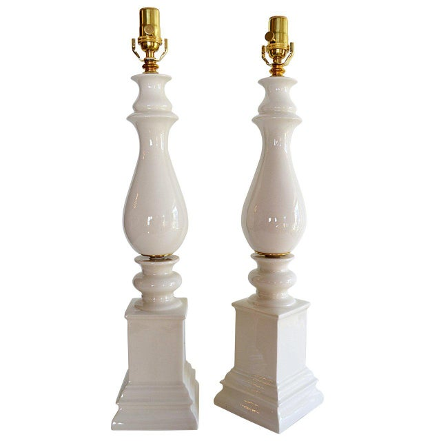 Gold 1940s Mid-Century Modern Blanc De Chine Baluster Form Table Lamps - a Pair For Sale - Image 8 of 8