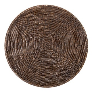 """Boho Chic Rattan Round Placemat - 14"""" For Sale"""