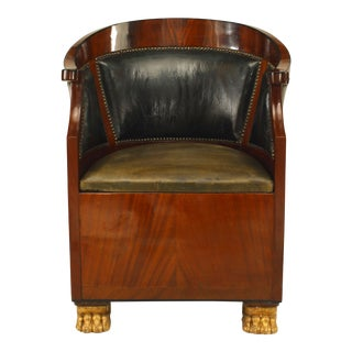 French Empire Leather Bergére Arm Chair For Sale