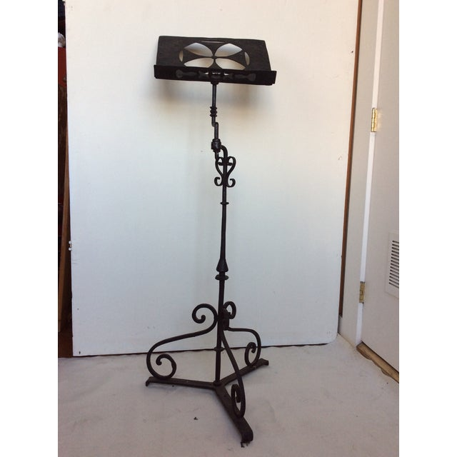 Metal Antique Iron Lectern With Maltese Cross For Sale - Image 7 of 8