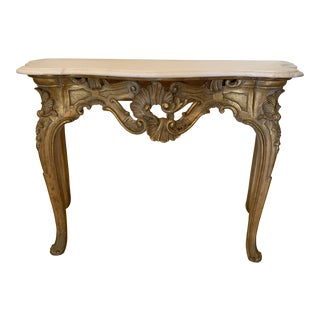 20th Century Louis XV Giltwood Console Table With Marble Top For Sale