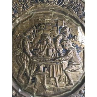 Mid 20th Century English Vintage Tavern Scene Brass Wall Plate Preview