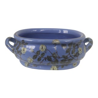 Chinese Blue Floral Decorative Planter Jardiniere For Sale
