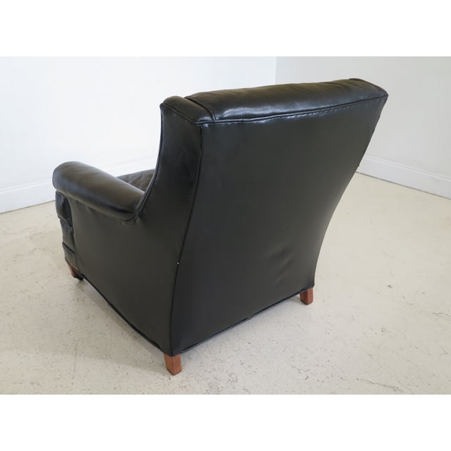 Sherrill Black Leather Club Chair & Ottoman For Sale - Image 9 of 13