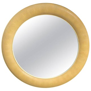 R & Y Augousti Blanc Shagreen Round Mirror For Sale