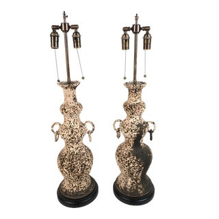Italian Art Pottery Lamps - a Pair For Sale