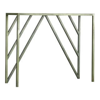 Modern Metal Console With Glass Top in Faux Antique Brass Finish