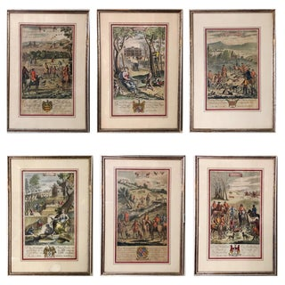 1680s Antique Richard Blome Engravings Prints - Set of 6 For Sale