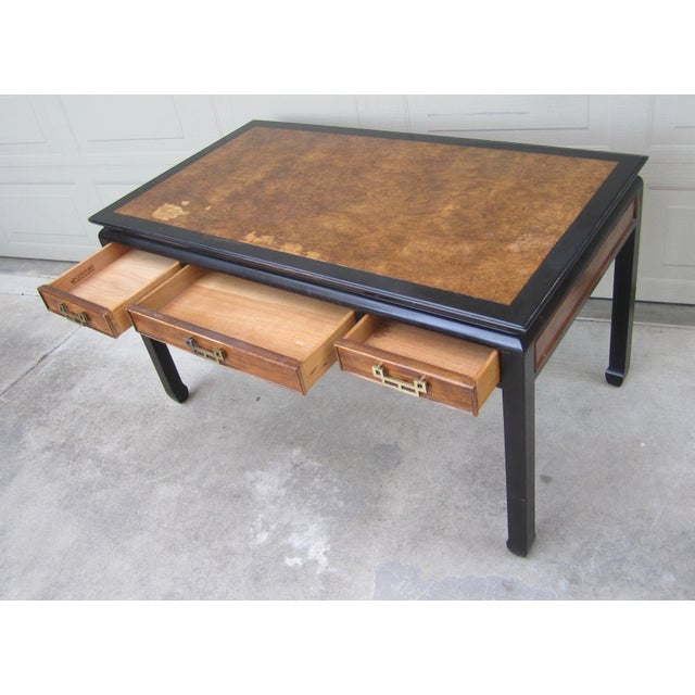 Raymond Sobota Century Furniture Burl Wood Black Lacquer Writing Desk For Sale In San Francisco - Image 6 of 12