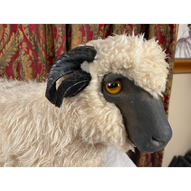 Wood Life Size Vintage Sheep Ottoman in the Style of Lalanne For Sale - Image 7 of 11