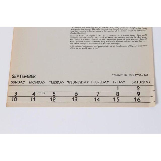 "Art Deco 1939 Rockwell Kent ""Flame"" Original Block Print Calendar For Sale - Image 10 of 11"