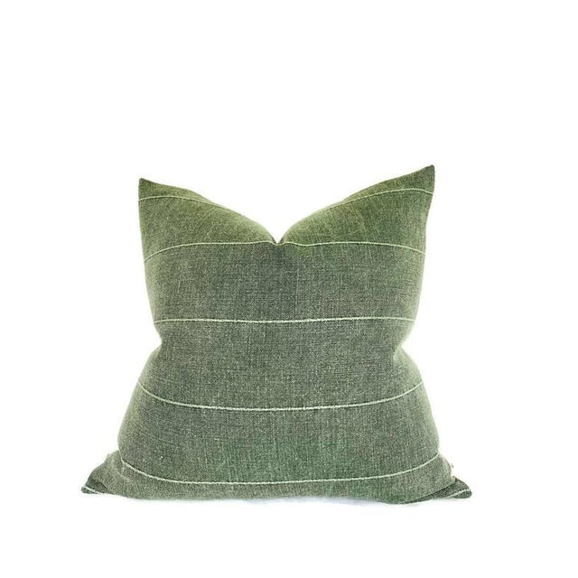 Contemporary Faso Striped Pillow Cover in Drake Green For Sale - Image 3 of 3