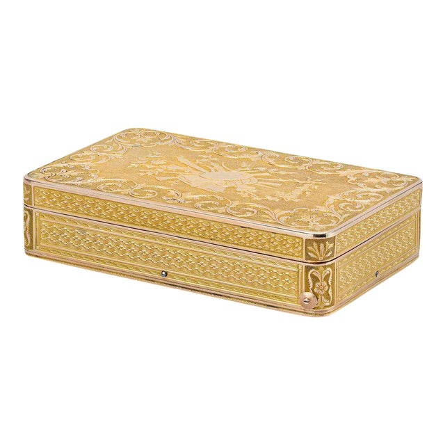 Swiss Gold Musical Snuff Box For Sale