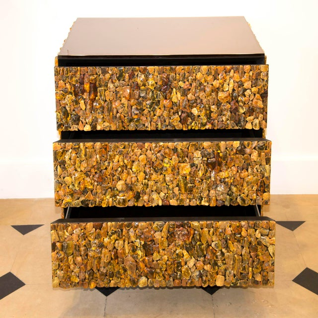 Metal Kam Tin - Chest of Drawers With Natural Amber and Brass, France, 2016 For Sale - Image 7 of 8