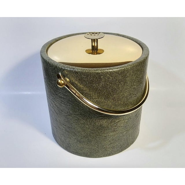 1960s Mid-Century Modern Green & Gold Ice Bucket For Sale - Image 9 of 9