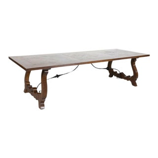 Large French Walnut Trestle Table With 17th Century Parquet De Versailles Top For Sale