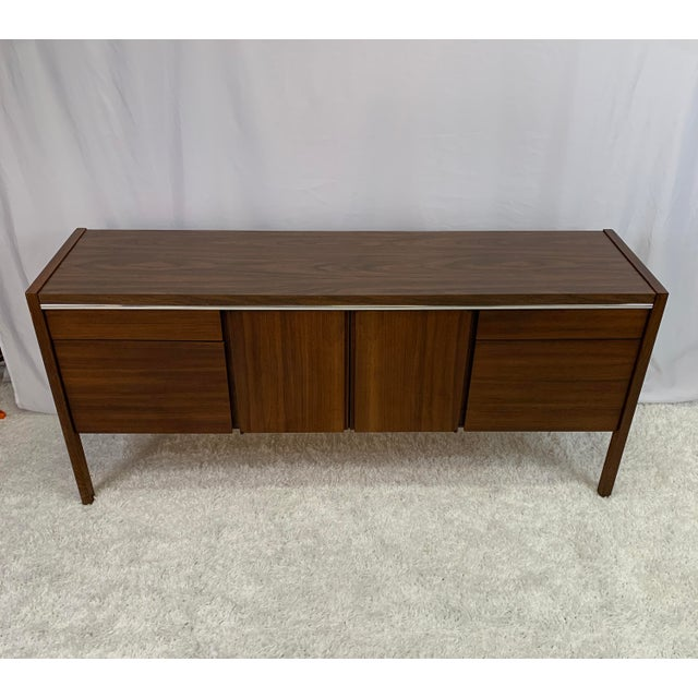 1950s Kimball Mid-Century Modern Walnut and Chrome Credenza For Sale - Image 9 of 9
