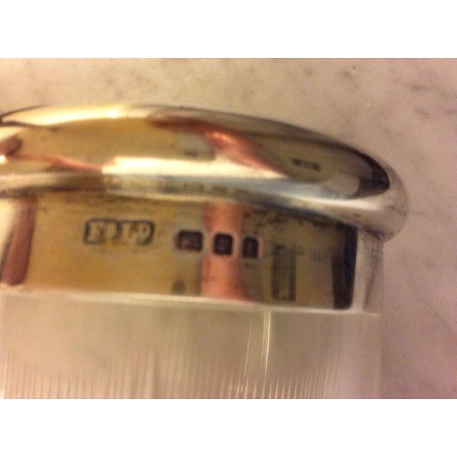 Metal Antique Cobalt Enamel on Silver Crystal Powder Jar For Sale - Image 7 of 9