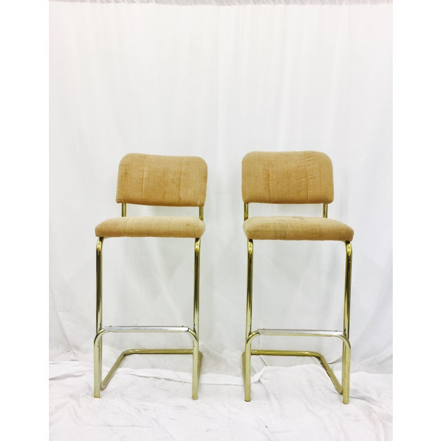 Vintage Mid-Century Modern Bar Stools - A Pair For Sale - Image 5 of 7