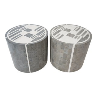 Vintage Maitland-Smith Attributed Side or End Tables Art Deco Revival Style in Tesselated Marble - a Pair For Sale