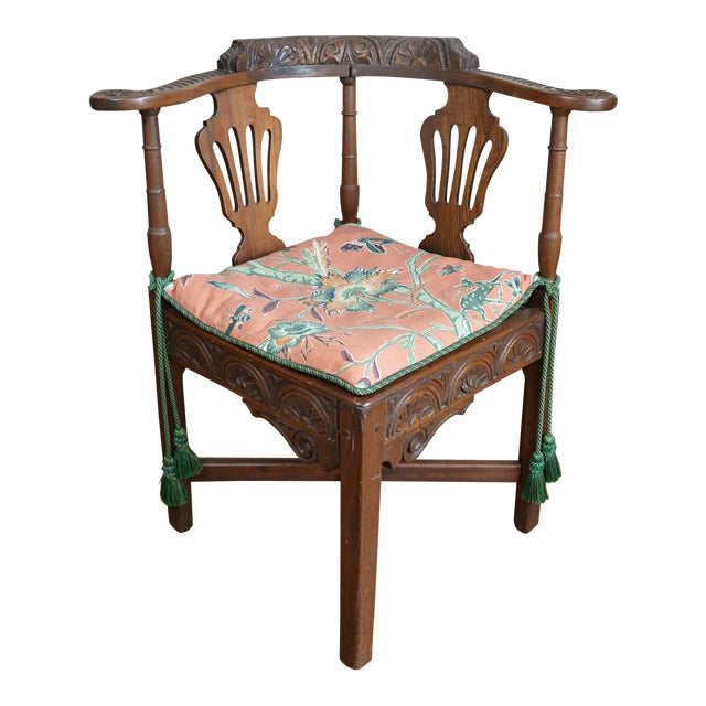19th Century Carved Elm Corner Chair For Sale