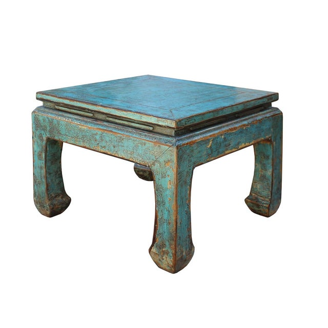 Asian Style Rustic Distressed Blue Square Curved Leg Coffee Table For Sale - Image 5 of 6