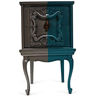 Silver & Turquoise Two Drawers Nightstand For Sale