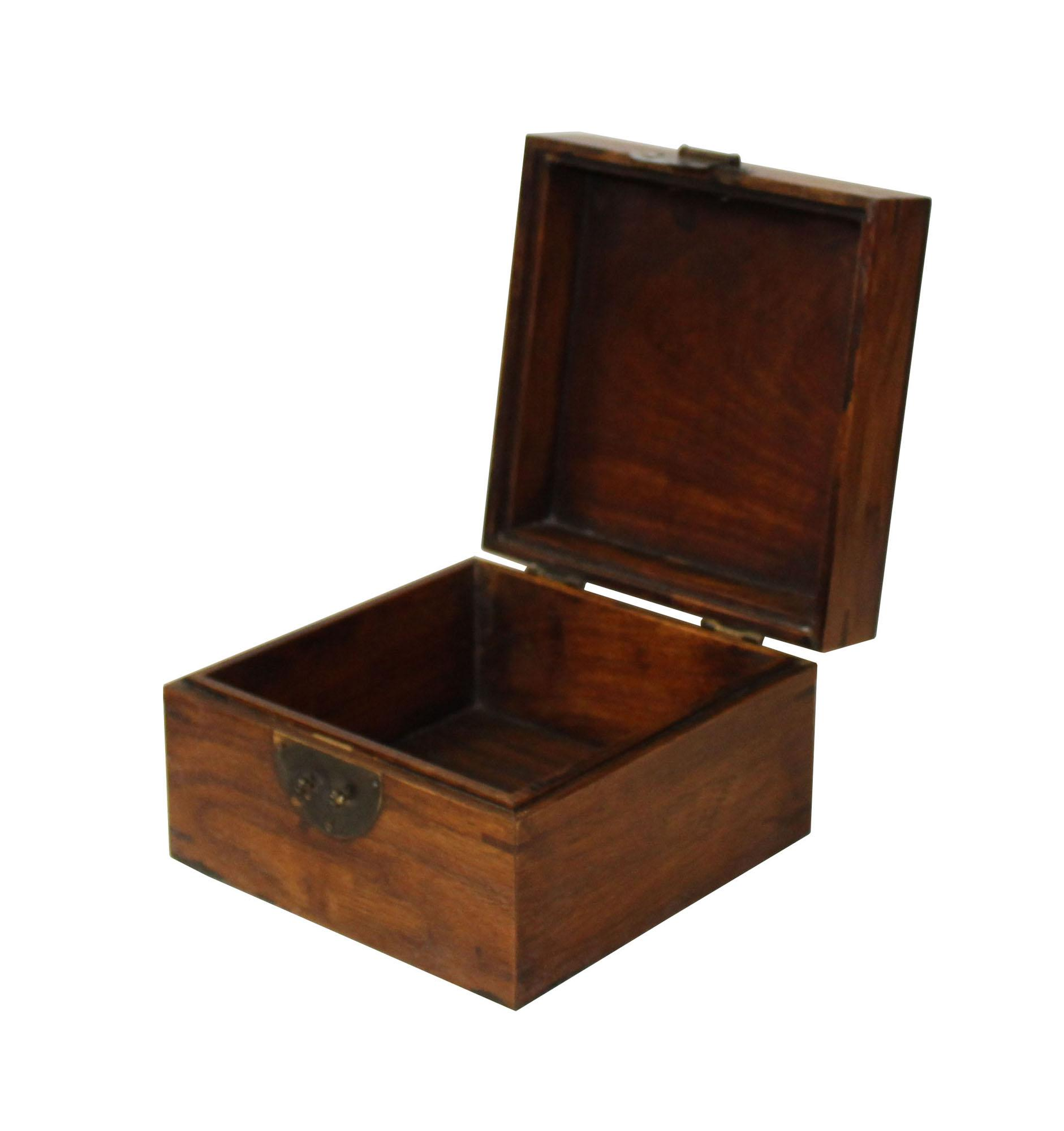 Chinese Brown Wood Square Storage Box Chest For Sale   Image 4 Of 5