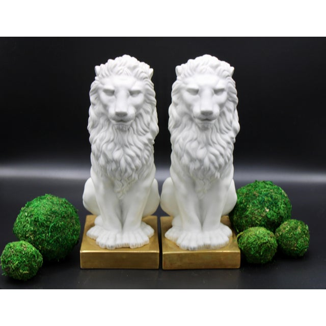 Italian Mottahedeh Ceramic Mantle Lions - a Pair For Sale - Image 11 of 13