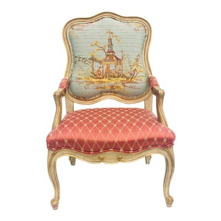 Asian Inspired Louis XV Style Lounge Chair For Sale