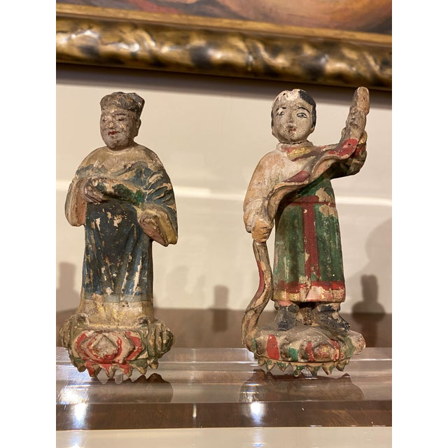 Chinese Figures on Acrylic Base For Sale - Image 4 of 6