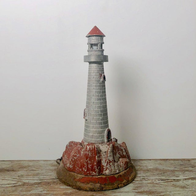Vintage Lighthouse Sculpture Table Lamp For Sale - Image 4 of 5