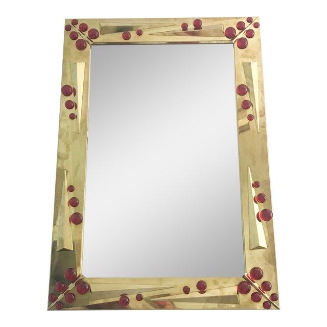 Rubino Brass Mirror by Fabio Ltd For Sale