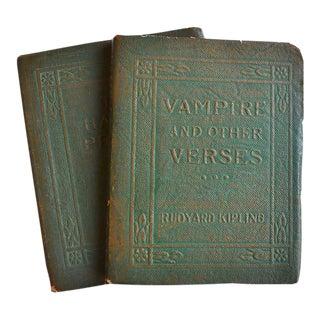 Art Deco Green Leather Books by Oscar Wilde/Rudyard Kipling For Sale