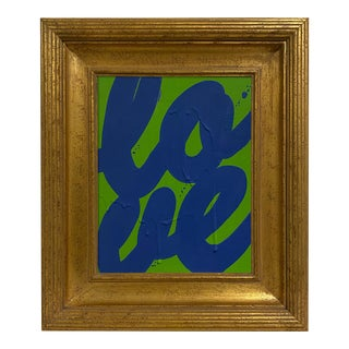 Ron Giusti Mini Love Kelly Navy Painting, Framed For Sale