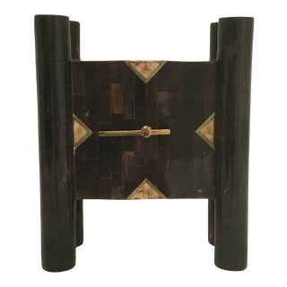 Tessellated Horn Clock With Brass Inlay For Sale