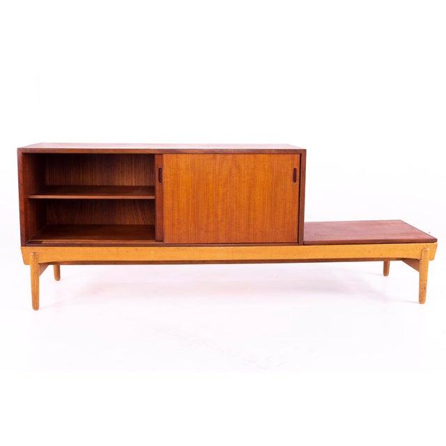 Danish Teak Mid Century Reversible Seat Foyer Entry Storage Bench For Sale - Image 4 of 9