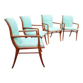 Vintage Mid Century T.H. Robsjohn Gibbings for Widdicomb Saber Leg Armchairs- Set of 4 For Sale