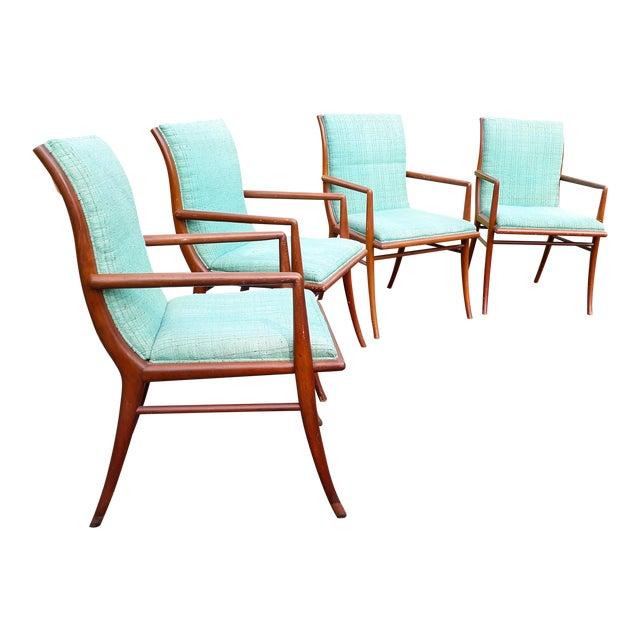 Vintage Mid Century T.H. Robsjohn Gibbings for Widdicomb Saber Leg Armchairs- Set of 4 For Sale