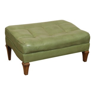 Tomlinson Vintage Tufted Green Leather Ottomans Foot Stool For Sale