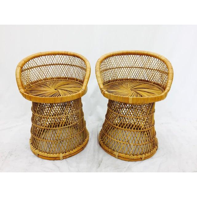 Vintage Boho Chic Wicker Bistro Set For Sale - Image 5 of 11