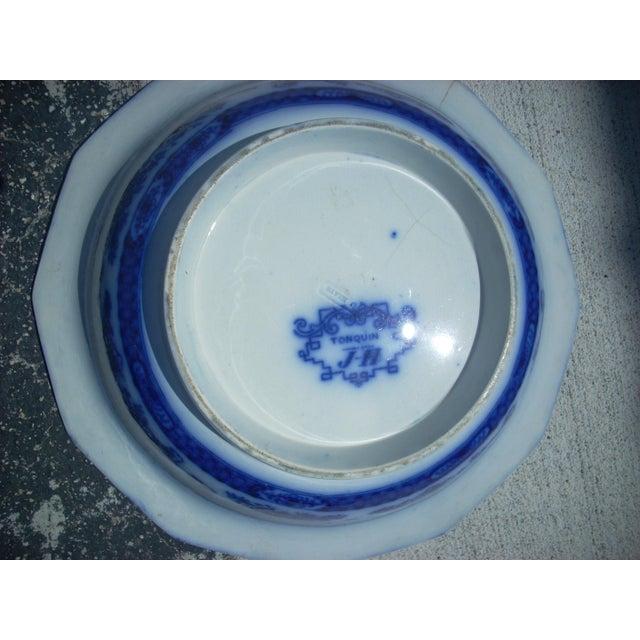 Flow Blue Wash Bowl For Sale - Image 4 of 4